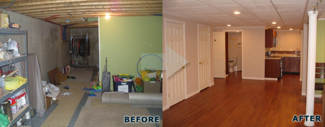 before after basement inishing